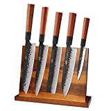 Magnetic Knife Block by Findking-Teak Wood Knife Stand Kitchen Knives Set Holder Storage Organizer(Knives not included)