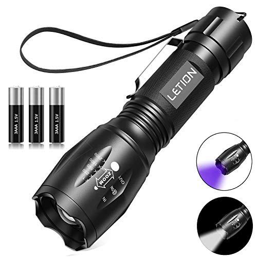 2 in 1 UV Lampe LETION, Schwarzlicht und Weißes Licht Taschenlampe LED,395nm Ultraviolette Taschenlampe 4 Modi,Detektor für unechte Banknoten,Urin von Hunde, und andere Haustiere Taschenlampenzubehör