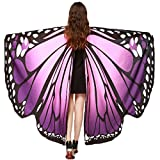 Christmas Party Soft Fabric Butterfly Wings Shawl Fairy Ladies Nymph Pixie Costume Accessory ((L) 168cm(W) 135cm/ 66' 53', Pink Purple)