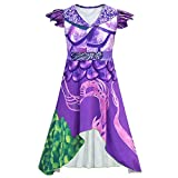 Wenge Descendants 3 Dragon Mal Costume for Girls, Audrey Halloween Costume Kids Halloween Cosplay (110CM(5-6T), Purple)