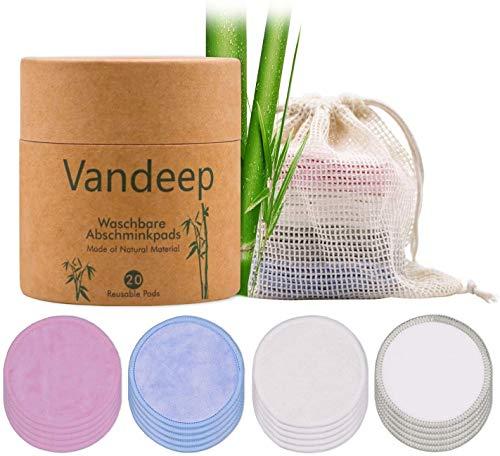 Waschbare Abschminkpads 20 Stk. Make-up Remover Pads wiederverwendbar Bambus-Wattepads mit Wäschebeutel für Gesicht Reinigung