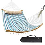 Ohuhu Double Hammock Quilted Fabric Swing with Strong Curved-Bar Bamboo & Detachable Pillow, 55'x75' Large Hammocks with Carrying Bag, 4.6'W x 6.2'L, Blue & White Stripe