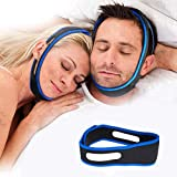 Anti Snoring Chin Strap, Snore Reduction Device, Effective Anti Snore Chin Strap for Cpap Users, Adjustable and Breathable Stop Snoring Sleep Aid for Men Women, Snore Stopper, Snoring Solution (Blue)