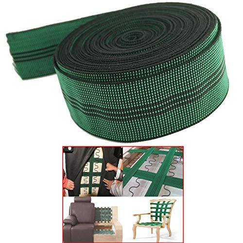 AUXPhome - Fascia elastica in 10% lattice elasticizzato per tappezzeria, fascia elastica da 5,1 cm di larghezza x 50 m, per divano, poltrona, riparazione mobili fai da te o sostituzione.