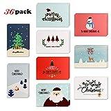 Howaf 36 Piezas Tarjetas de Navidad, Tarjetas de Felicitaciones de Navidad con Sobres para Invitación Eventos y Navidad Celebración (9 diseños)