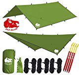 Chill Gorilla 12x12 Hammock Rain Fly Camping Tarp. Ripstop Nylon. 203' Centerline. Stakes, Ropes & Tensioners Included. Camping Gear & Accessories. Perfect Hammock Tent. Blue