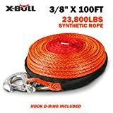 X-BULL SK75 3/8' x 100ft Dyneema Synthetic Winch Rope with Hook Car Tow Recovery Cable(23,809 Lbs,Orange)