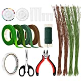 Bestcool DIY Kit d'arrangement floral, 17pcs outils floraux coupe-fil fil de tige fil floral de calibre 26 et 22 bandes florales vertes de fil de calibre pour...