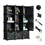 Greenstell 12 Cubes Storage Organizer with Doors,DIY Plastic Stackable Shelves Multifunctional...