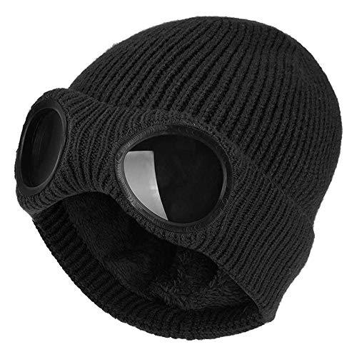 MCSZG Moda Invierno Cálido Sombreros de Punto Unisex Adulto Gorras de esquí a Prueba de Viento con Gafas extraíbles Espesar Gorras multifunción Deportivas