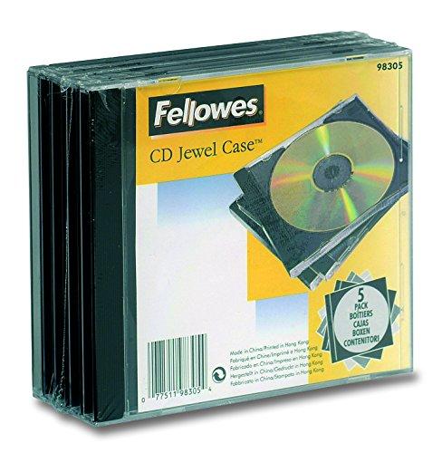 Fellowes 98305 Custodia per CD, Confezione da 5 Pezzi