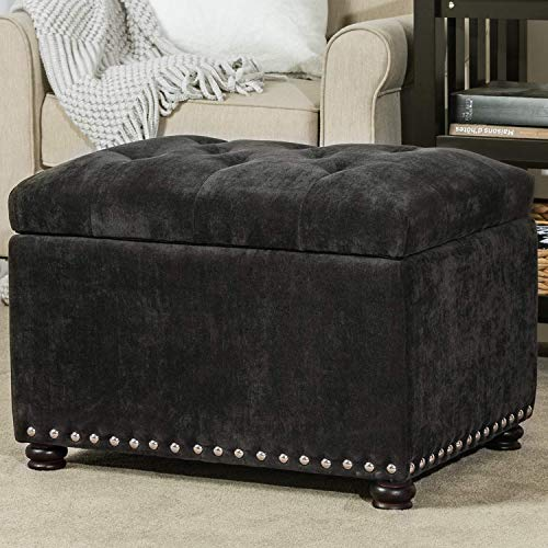 Decent Home 24 inch Tufted Storage Ottoman Square Velvet Foot Rest Stool with Nailheads (Dark Grey)