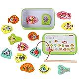 Juego de pesca de madera – 2 en 1 juegos de madera – Juego de juguete de madera para bebé – Juguetes de madera educativos para niños y niñas