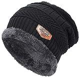 Black Mens Beanie Winter Hat For Men Warm Knit Hat Fleece Lined Slouchy Beanie Skull Cap Winter Hat With Fleece Lining Beanie Knitted Hat Men Wool Beanie For Winter Slouchy Hat Ski Skull Stocking Cap