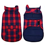 Kuoser British Style Plaid Dog Winter Coat, Windproof Water Repellent Cozy Cold Weather Dog Coat Fleece Lining Dog Apparel Dog Jacket Dog Vest for Small Medium and Large Dogs with Pocket Red S