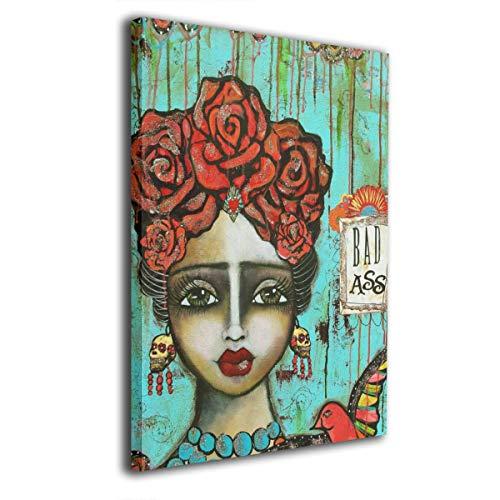 Pintura C Frida Kahlo Mexicana Folk Wall Art Pinturas sobre Lienzo sin Marco Listo para Colgar para Sala de Estar Dormitorio baño 16 x 20 Pulgadas, Madera, Blanco, Talla única