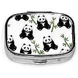 Cute Panda Bamboo Pill Box CaseSquare Tableta Medicina Bolsillo Monedero Píldora de viaje VitaminBox Case Holder