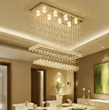 Moooni Modern Rectangular Raindrop Crystal Chandelier Ceiling Lighting Fixture Rectangle Pendant Flush Mount LED Light for Dining Room L 40'x W 12'x H 31.5'