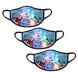 3 Stücke Erwachsene Halstuch Mundschutz Weihnachten LED Licht 3D Druck Bandana Atmungsaktiv Mund und Nasenschutz für Damen Herren (Kombination B)