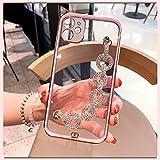 iPhone 12ケース 6.1インチ 対応 可愛い 透明 キラキラ ホルダー付き ベルト付き チェーン 携……