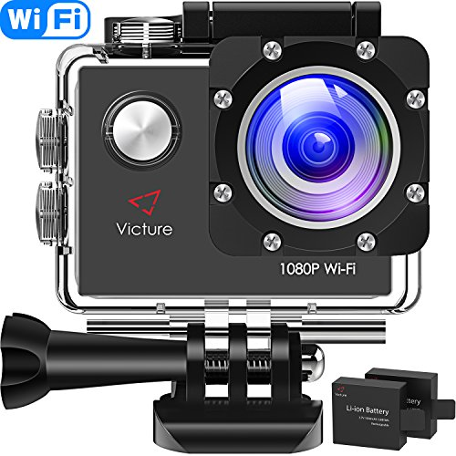 Victure Action Cam WI-Fi Full HD 1080P wasserdichte Sport Action Kamera 30M Unterwasserkamera mit 2 Zoll LCD-Bildschirm 170 Weitwinkel-Objektiv 2 Akkus und Montage-Zubehör-Kits