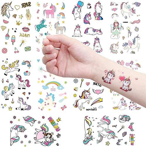 Clerfy Acc 500pcs Unicornio Tatuajes temporales Falso Tatuajes Pegatinas para Niños Niñas Fiestas Infantiles Unicornio Cumpleaños de Niños Regalo Piñata