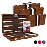 Get The Games Out Top Backgammon Set - Classic Board Game Case - Best Strategy & Tip Guide - Available in Small, Medium and Large Sizes (Brown, Small)