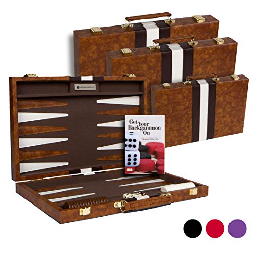 Get The Games OutTM Top Backgammon Set - Classic Board Game Case - Best Strategy & Tip Guide - Large Brown