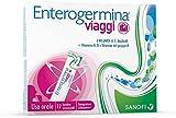 Enterogermina Viaggi, integratore alimentare a base di probiotici, Vitamine A, D e Vitamine del gruppo B arricchito con fibre prebiotiche. Contiene edulcorante