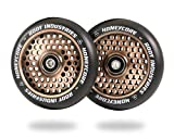 110mm Honeycore Pro Stunt Trick Scooter Wheels (Pair) - Smooth Fast Hollowcore - Kick Push Scooter Tire - Pro Freestyle Urethane - Fit Most Setups - 24mm x 110mm - Bearings Installe (Black/Copper)