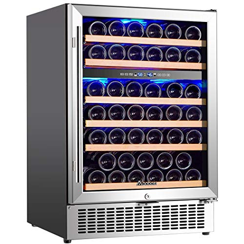 Wine Cooler Dual Zone, Aobosi 24 inch 51 Bottle Wine refrigerator Built-in or Freestanding with Fashion Look, Quick and Silent Cooling System, Double-Layer Tempered Glass Door, Front Ventilation
