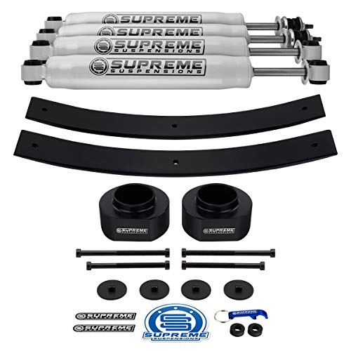 Supreme Suspensions - 2' Front + 1.5-2' Rear Lift Kit for Jeep Cherokee XJ (2WD 4WD) Front Delrin Spring Spacers + Rear Add-a-Leaf Springs + Pro Performance Series Shocks PRO