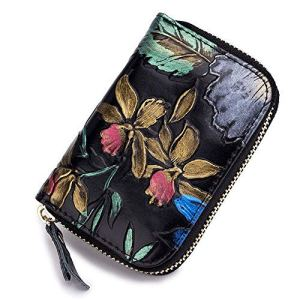 HLBag Women Credit Card Holder Organizer Genuine Leather Wallet Small RFID Blocking Coin Purse