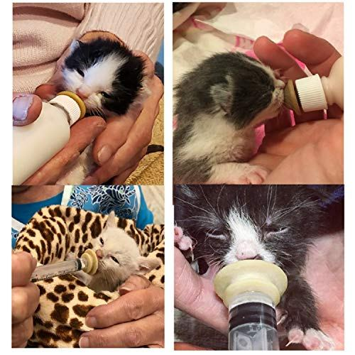 TML Pet Nursing Bottle, Nursing Bottle Kits, Replacement Nipple Mini Cat Feeding Bottle for Newborn Kittens, Puppies, Rabbits, Small Animals