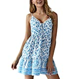 Women's Sexy Deep V-Neck Bohemian Printing Sleeveless Spaghetti Strap Mini A-Line Dress (XL, Sky Blue)