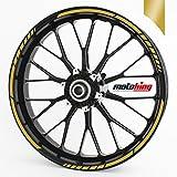 Felgenrandaufkleber GP im GP-Design passend für 17 Zoll und 16' 18' 19' Felgen für Motorrad, Auto & mehr - Gold