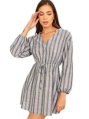 Fabric: Non-Stretch/ Soft/ Comfortable Design: Striped/ A Line/ Button Front/ Long Sleeve/ Drop Shoulder Occasion: Work/ Dating/ Daily Wear/ Going out Style: Elegant and casual style, suitable for daily life. Size: Please refer to the size chart as b...