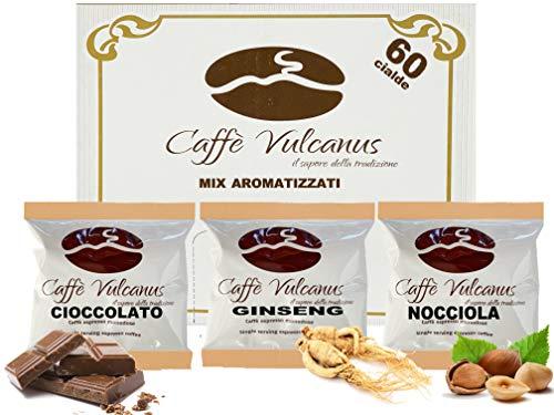 Caffè Vulcanus - Kit assaggio 60 cialde compostabili ESE44 di caffè aromatizzati - Degustazione caffè al ginseng, nocciola e cioccolato