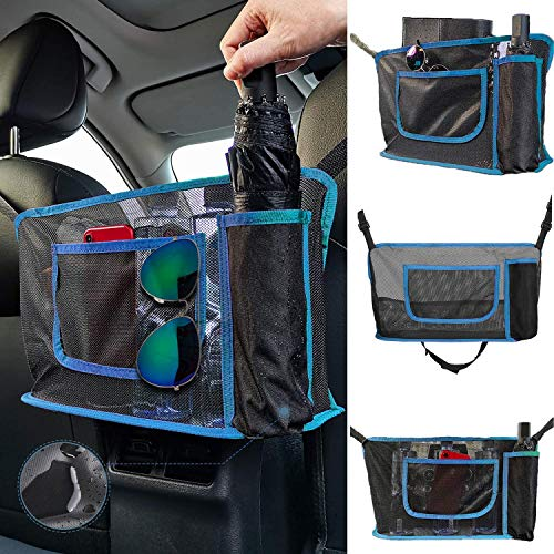 51 9GHdhJ1L 【MULTI-FUNCTIONAL】 Waterproof umbrella pockets and storage side pockets, 3-Layer space. Don't worry about the water from the umbrella. Put cell phone, mug, umbrella, snacks in the car net pocket handbag holder. ★Adds space to your car, keeps the interior as neat as new. 【EXCELLENT QUALITY】 ★Waterproof oxford cloth umbrella pockets. Seat net bag made of thickened polyester fiber, more durable and stronger, keep naughty pets in the back seat and protect your daily driving. 【EASY INSTALLATION】 ★Only one minute, you can install this car net pocket in the car quickly, strong and freely adjustable. 3 retractable cords on the product, drilling and paste are not required.
