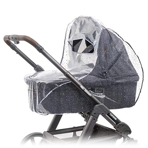 Parapioggia universale comfort per carrozzine, navicella, culla portatile ( ad es. Chicco, Peg Perego) | buona ventilazione, finestra di contatto, con tettoia, montaggio facile, senza PVC