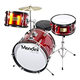 Mendini by Cecilio 16 inch 3-Piece Kids/Junior Drum Set with Adjustable Throne, Cymbal, Pedal & Drumsticks, Metallic Red, MJDS-3-BR