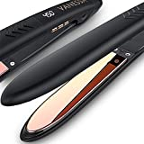 Flat Iron for Hair Titanium Plates, Professional Flat Iron Hair Straightener, Hair Flat Iron and Curler in One