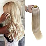 Full Shine 10 Inch Remy Clip In Human Hair Extensions 80 Grams, Color 60 Platinum Blonde Clip in Hair Extensions Straight, Double Wefted Hair Extensions With Clips
