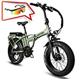 Rattan Folding Electric Bike 750W 48V 13AH LCD Display 4.0 Fat Tire Ebike for Adults All Terrain...