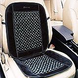 Zento Deals Black Wooden Beaded Plush Velvet Seat Cover Premium Quality Ultra Comfort Massage Cool Car Seat Cushion 35'x17'