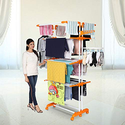 Happer Premium Double Supported 4 Layer Cloth Drying Stand with Thread Lock Mechanism and Breaking...