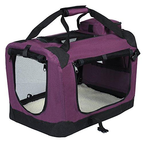 EUGAD 0114HT Cage de Transport en Oxford Sac de Transport Pliable pour Chien ou Chat,Violet 60x42x42cm