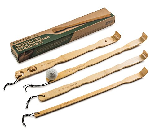 "BambooWorx 4 Piece Traditional Back Scratcher and Body Relaxation Massager Set for Itching Relief, 17.5"", Strong and Sturdy, 100% Natural Bamboo"