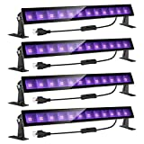 Onforu 4 Pack 24W LED Black Light Bar with Plug and Switch, 5ft Power Cord, IP66 Blacklight for Glow Party, Stage Lighting, Body Paint, Fluorescent Poster, Birthday Wedding Party