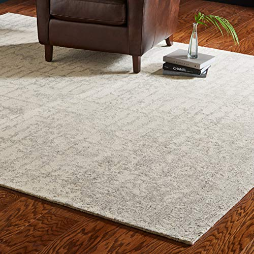 Amazon Brand  Rivet Contemporary Linear Distressed Wool Area Rug, 8 x 10 Foot, Grey